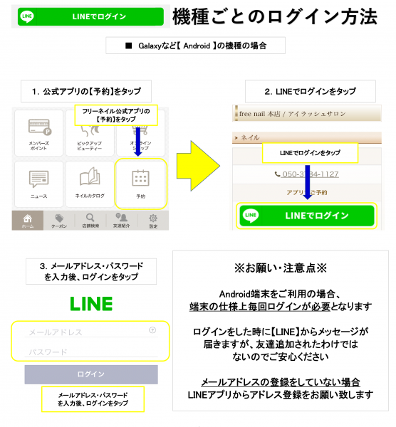 androidログイン方法